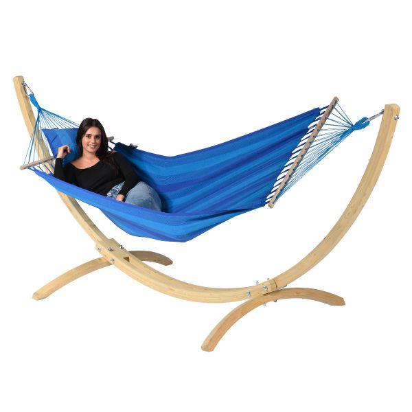 Wood & Relax Blue Houpací síť pro jednoho se stojanem