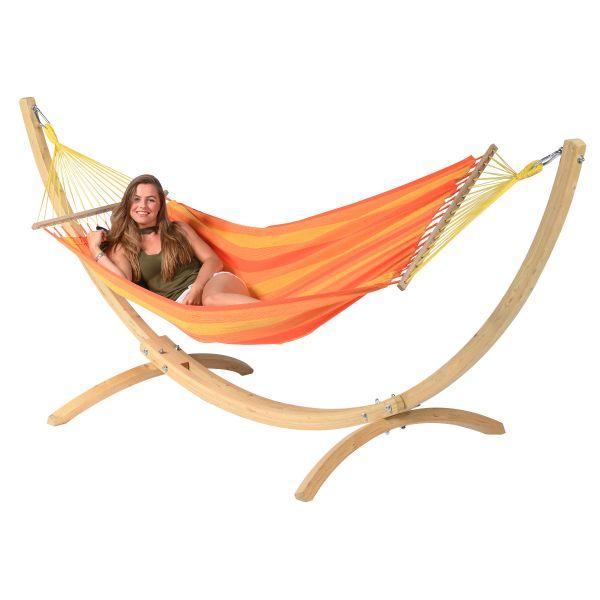 Wood & Relax Orange Houpací síť pro jednoho se stojanem
