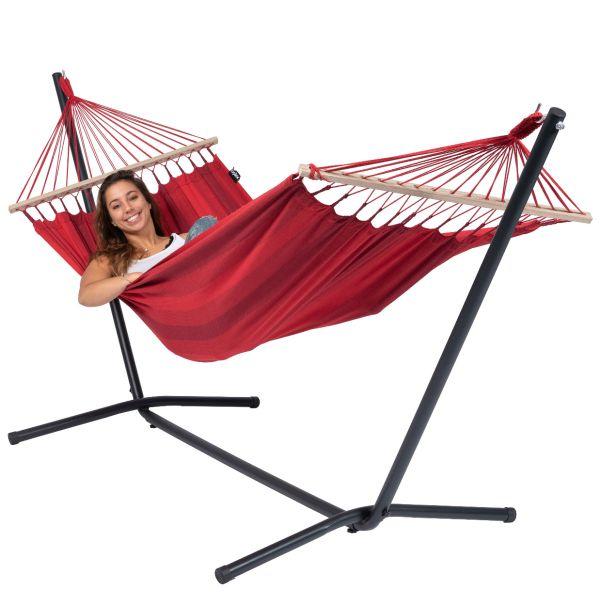 Easy & Relax Red Houpací síť pro jednoho se stojanem