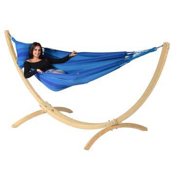 Wood & Dream Blue Houpací síť pro jednoho se stojanem