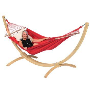 Wood & Relax Red Houpací síť pro jednoho se stojanem