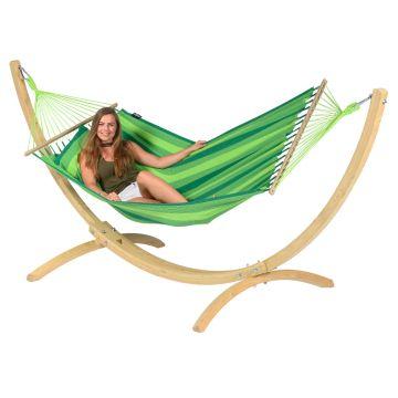 Wood & Relax Green Houpací síť pro jednoho se stojanem