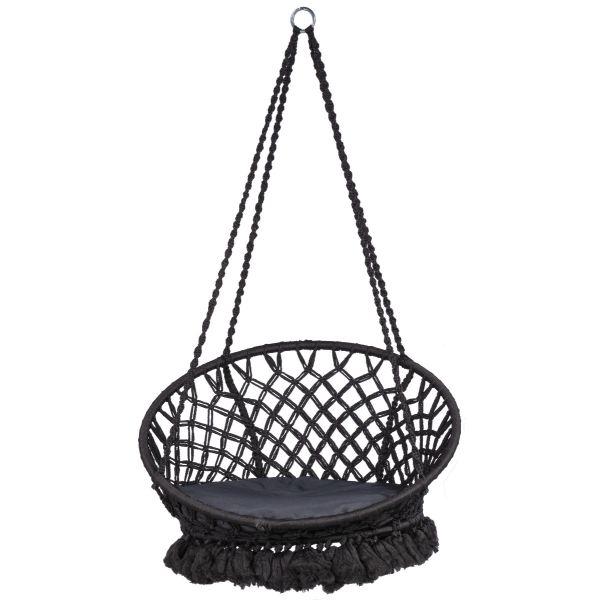 'Macramé' Black Závěsná sedačka pro jednoho